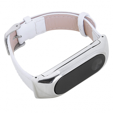 For Mi Band 2 Generation Leather Strap Bands Real Cow Wristband Xiaomi Smart Bracelet Wrist Blet Accessories - White