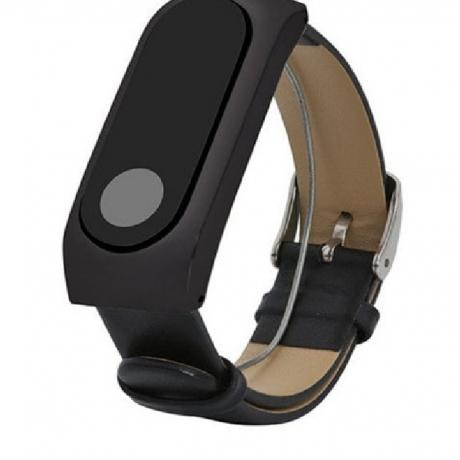 Genuine Leather Frame Strap For Original Xiaomi Mi 2 Band Smart Wristband Bracelet - Black