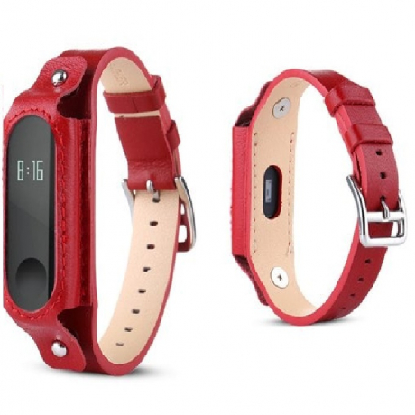 Vintage Leather Watch Strap Watchband for Xiaomi Mi Band 3 - Red Wine