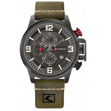 CURREN Men's Fashion Material Type Leather Quartz Sport Watch - Camouflage Green