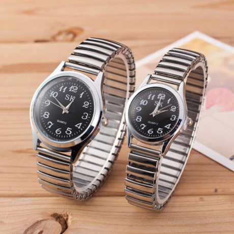 Fashion Spring Steel Band Simple Digital Scale Universal Lovers Watch - Black MAN