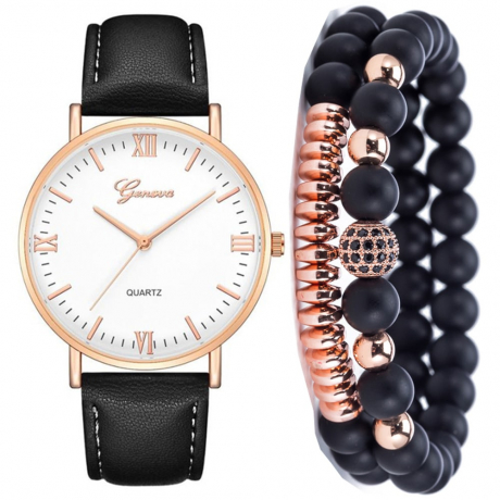 Geneva Men'S Fashion Casual Chronograph Leather Quartz Dress Watch Set - Graphite Black