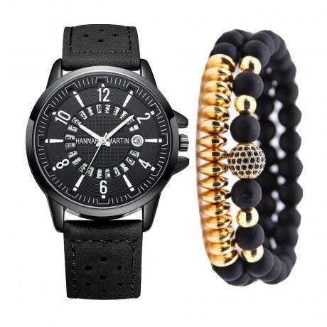 Hannah Martin Fashion Creative Men'S Chronograph Leather Quartz Wrist Watch Set - Black