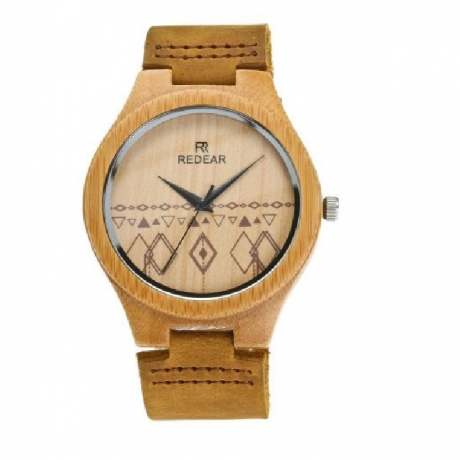 Leather Strap Wristwatch Bamboo Quartz Lover's Watch - Multi-A Men