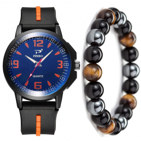 Men'S Creative Casual Chronograph Rubber Quartz Wrist Watch Set - Orange