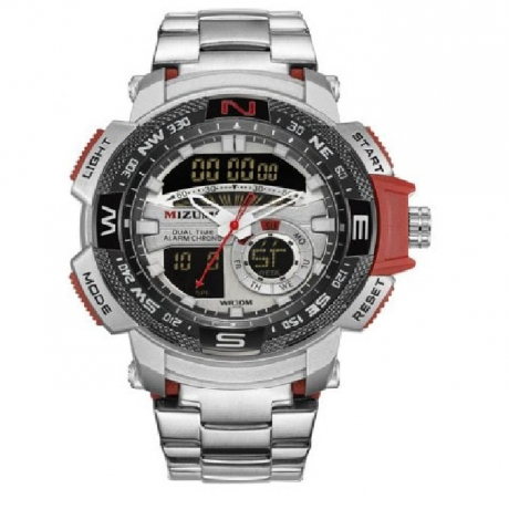 Mizums Men's Double Stainless Steel Movement Waterproof Quartz Electronic Watch - Silver