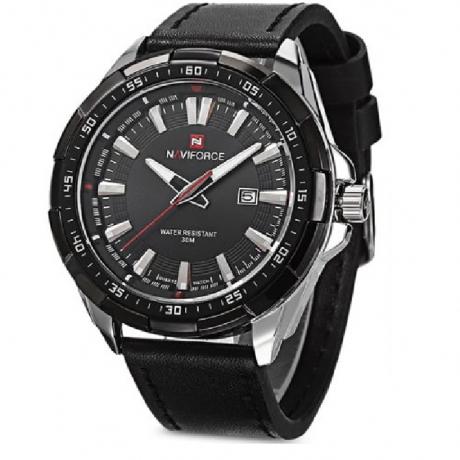 NAVIFORCE 9056 Men Leather Band Quartz Watch - BLACK SILVER