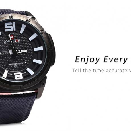 Naviforce 9066 Day Date Display Men Quartz Watch - Black