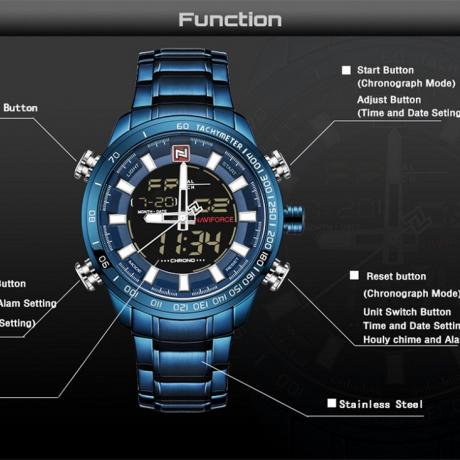 NAVIFORCE Men's Original Luxury Brand Stainless Steel Quartz Watch - Blue