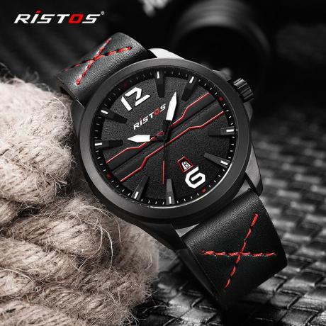 RISTOS 9356 Men's Leather Strap Waterproof Sports Quartz Watch - Multi-B