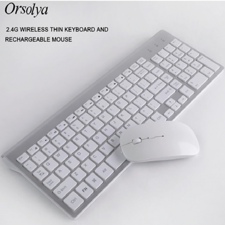 2.4G Wireless Thin Keyboards and Rechargeable Mouse Combo Orsolya Whisper-quiet For Notebook and Desktop PC,Home Office Silver