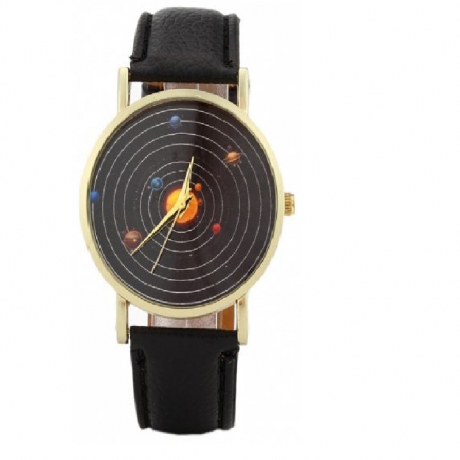 British New Personalized Cosmos Starry Quartz Casual Fashion Watch - Black