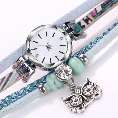DUOYA Female Owl Pendant Small Twist PU Bracelet Watch - Sky Blue