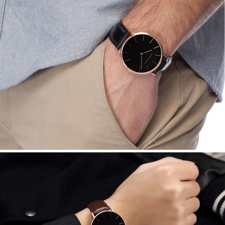 Fashion Brand Simple Unisex Waterproof Quartz Wrist Watch - Deep Coffee
