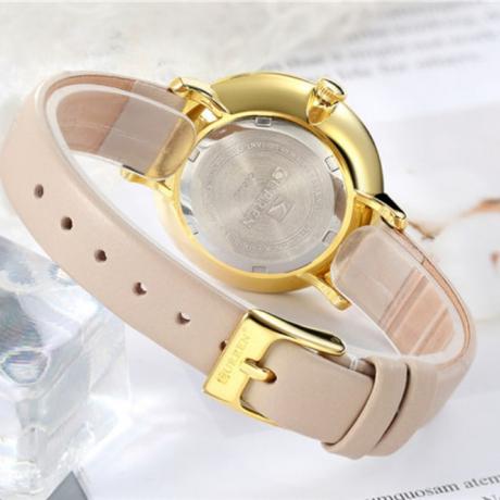 Fashion Diamond Personality Ultra-Thin Belt Waterproof Quartz Women'S Watch - Light Khaki
