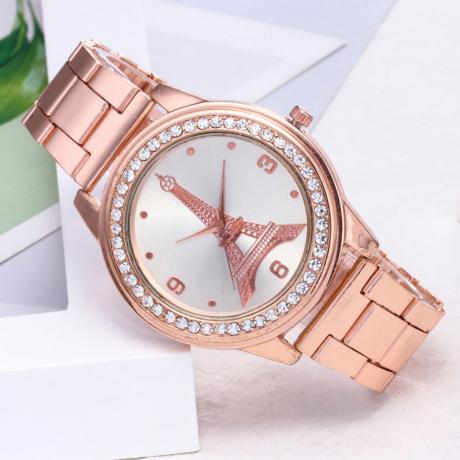 Fashion Diamond Tower Pattern Steel Strip Quartz Watch - Rose Gold