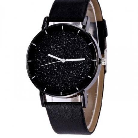 Fashion New Design Creative Sparkle Large Dial Leather Quartz Dress Watch - Black