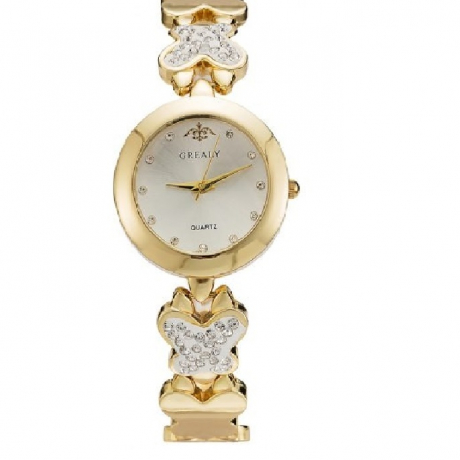 GREALY Fashion Female Drill Bracelet Table With Diamond Small Dial AlloyWatch - Yellow