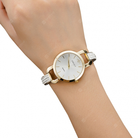 GREALY Temperament Female Diamond Bracelet Dial Alloy Ribbon Fashion Watch - Yellow