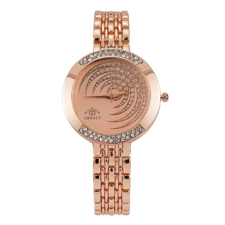 GREALY Women's High-end Fashion Bracelet Table Diamond Alloy With Watch - Pink