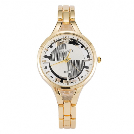 GREALYLadies' Personality Alloy Bracelet Table Geometric Figure decorative Watch - Yellow