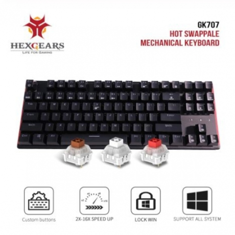 HEXGEARS GK707 87 Key Mechanical Keyboard Hot Swappable Kailh BOX Switch Anti Ghosting Game Mechanical Keyboard