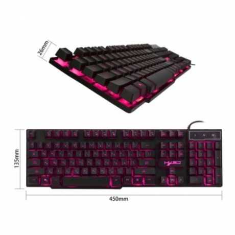 HXSJ R8 Wired PC Gaming Keyboard LED Illuminated Backlight USB Russian + English 7#M