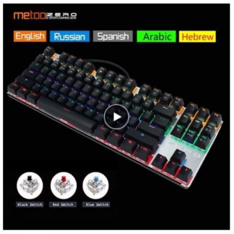 Original Metoo Zero gaming keyboard Russian/English/Arabic Mechanical Keyboard 104 keys usb Wired keyboard blue/red switch