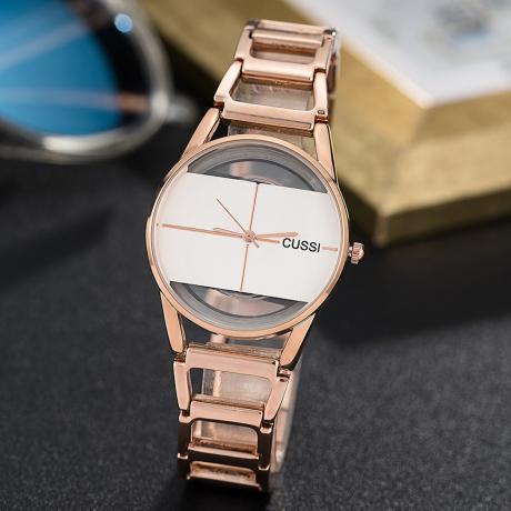 Women's Steel Bracelet Watch IGP Gold Color Waterproof Decorative Watch - Pink