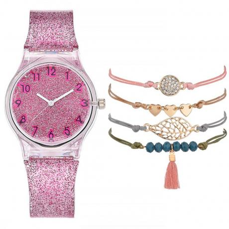 Fashion Creative Women'S Chronograph Plastic Quartz Wrist Watch Set - Pink Cupcake