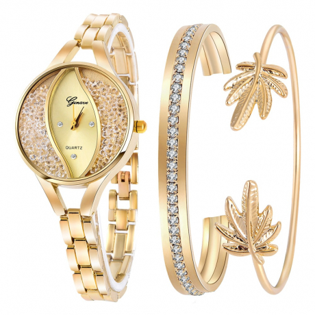 Ginave Fashion Women'S Stainless Steel Quartz Wrist Watch Set - Gold