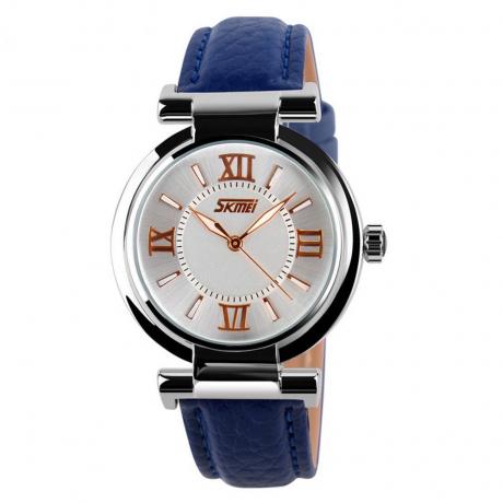 Skmei Women Luxury Brand Quartz Leather Strap Ladies Wrist Watches - Deep Blue