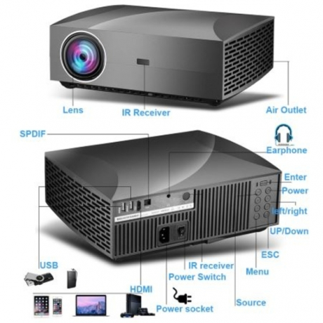Vivicine F30 1920X1080 Full HD Projector, HDMI USB PC 1080p LED Home Multimedia Video Game Projector Proyector