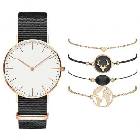 Women Fashion Creative Chronograph Canvas Quartz Wrist Watch Set - Black