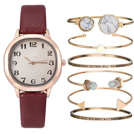 Creative Casual Women'S Chronograph Leather Quartz Wrist Watch Set - Firebrick