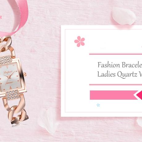 Fashionable Bracelet Women's Quartz Watch - Rose Gold White