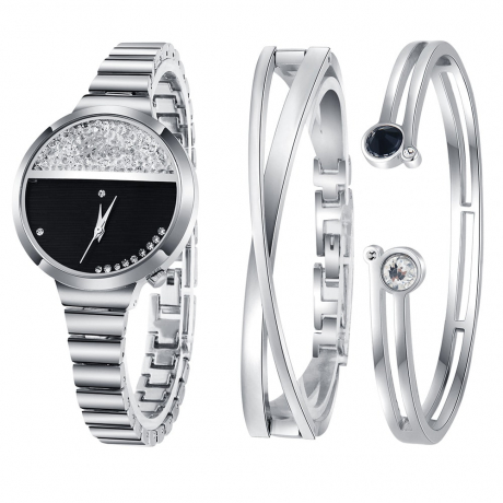 Ginave Fashion Creative Women'S Stainless Steel Quartz Wrist Watch Set - Silver