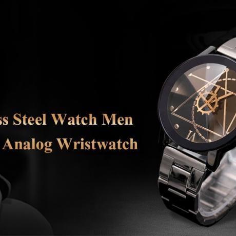Luxury Fashion Stainless Steel Watch for Man Quartz Analog Wrist Watch - Black Men