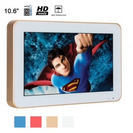 Souria 10.6 inch Portable HD Shower Waterproof Bathroom LED TV with Golden Frame Customized