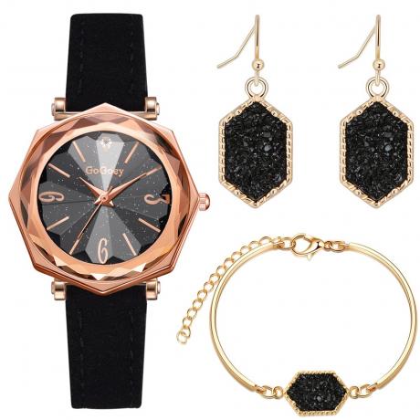 Women'S Creative Fashion Chronograph Leather Quartz Wrist Watch Set - Black