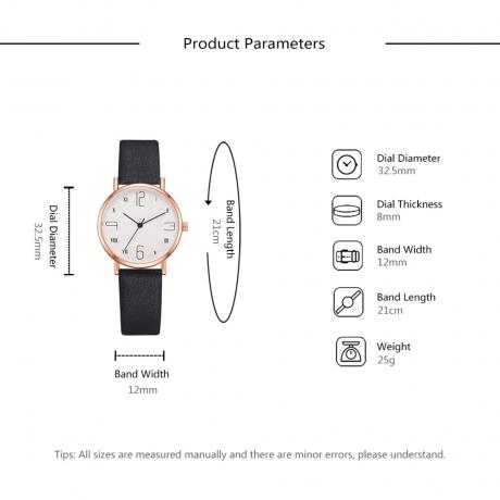 XR3453 Women Casual Temperament Simple Digital Scale Dial Watch - Black