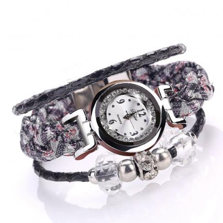 Duoya Fashion Beads Charm Bracelet Quartz Watch Casual Dress Vintage Watch - Multi-B
