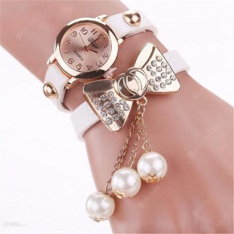 Duoya Women Fashion Butterfly Bow Pearl Casual Leather Bracelet Watch - Multi-F