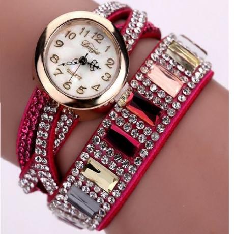 Duoya Women Fashion Crystal Bracelet Watch Women Dress Quartz Watch - Multi-C