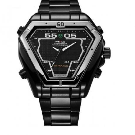 WEIDE Irregular Men Military Analog Digital LED Watch 3ATM Bracelet Multifunction Sports Watch - Black