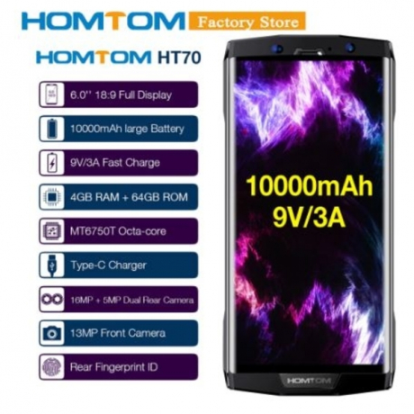 10000mAh HOMTOM HT70 Fingerprint Mobile Phone 4GB 64GB 6inch 18:9 Full Display 13MP Front 16MP+5MP Dual Rear Camera Smartphone
