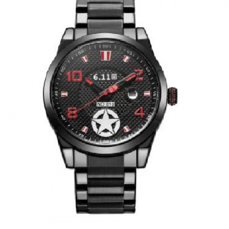 6.11 Men Five-pointed Star Auto Date Stainless Steel Band Photoelectric Conversion Energy Saving Wristwatch - Black