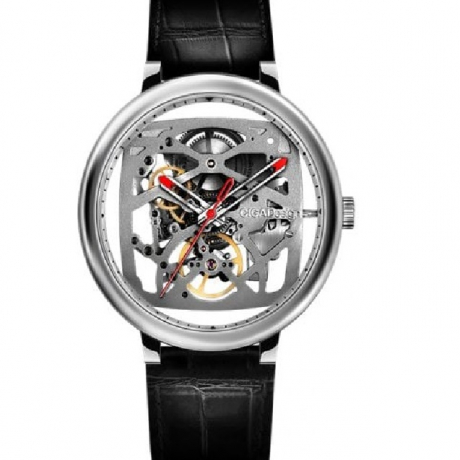 CIGA Design Leather Outer Circle Creative Hollow Automatic Mechanical Watch - Silver