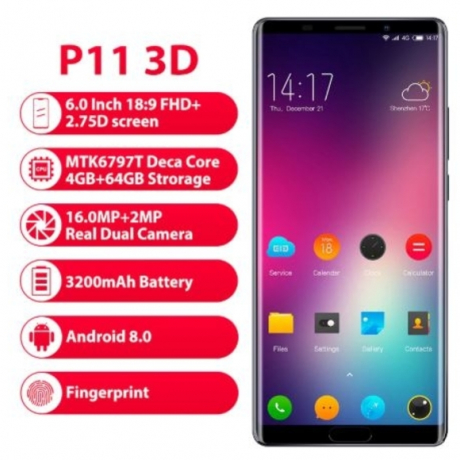 Elephone P11 3D Mobile Phone Android 8.0 MTK6797T Deca Core 6.0 Inch incell screen FHD+ 4GB 64GB 16MP+8MP 3200mah 4G Smartphone