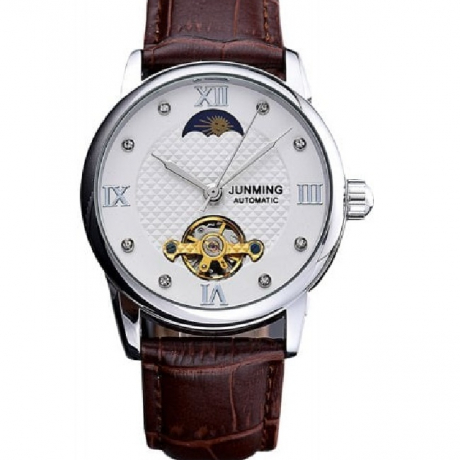 JUNMING Men Hollow Engraving Leather Mechanical Watch - Silver